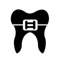 human tooth with bracket vector image