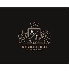 Initial aj letter lion royal luxury logo template vector