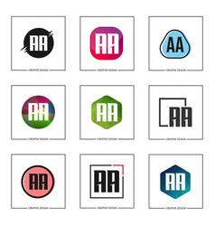 initial letter aa logo set design vector image