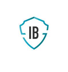 Initials letter ib creative shield design logo vector