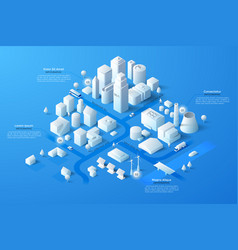 Isometric white city template vector
