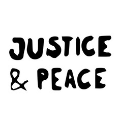 Justice and peace text pictograph sign depicting vector