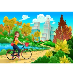 lady on a bike in a urban park vector image