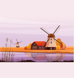 landscape with windmill on river bank vector image