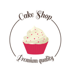 logo sweet cupcake shop template badge logo for vector image