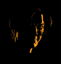 Man portrait silhouette in contrast backlight vector