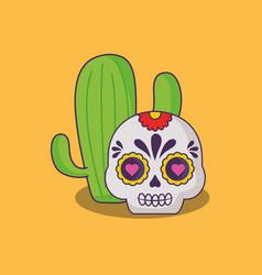 mexican sugar skull design vector image