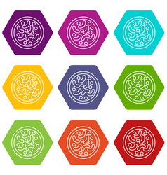 microscopic bacteria icons set 9 vector image