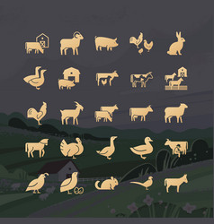 modern glyphs farm animals icons from 25 icons vector image
