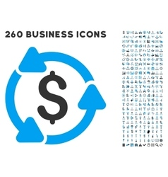 Money Circulation Icon with Flat Set vector