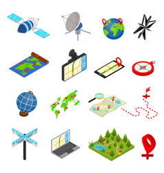 navigation methods tools signs 3d icons set vector image