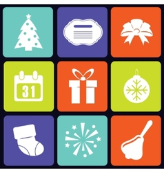 New Year icons square vector image
