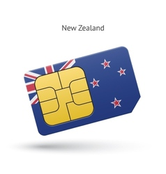 New Zealand mobile phone sim card with flag vector image