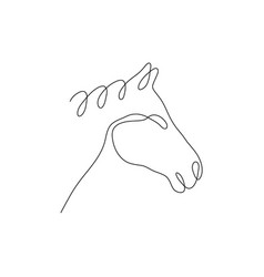 one line horse head design silhouettehand drawn vector image