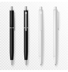 pen mockup realistic pens close up template vector image