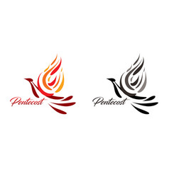 pentecost text with holy spirit vector image