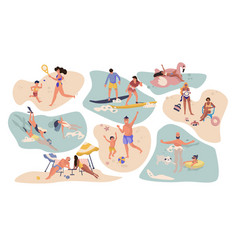 people beach activities cartoon characters on vector image