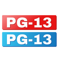 Pg-13 text on blue and red rectangle buttons vector