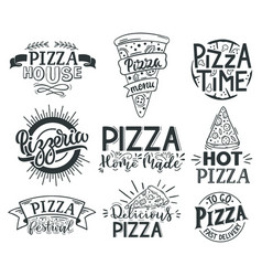 pizza lettering quotes italian fast food vector image