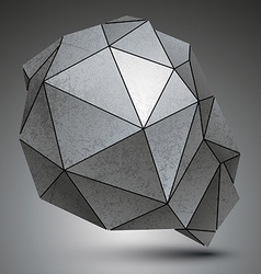 Polygonal galvanize 3d abstract object grayscale vector