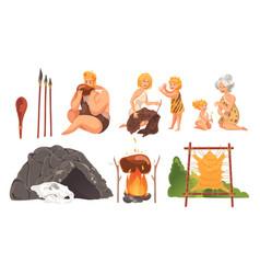 Prehistoric people stone age set concept vector