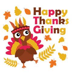 Print cartoon with cute turkey is happy on vector