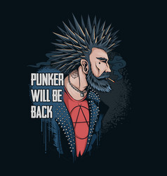 Punker man smokes his hair spikes and wears a vector