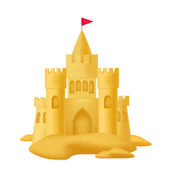 realistic 3d detailed sand castle with flag vector image