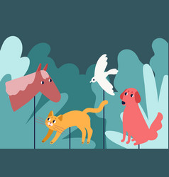 Rod puppets resembling animals in forest vector