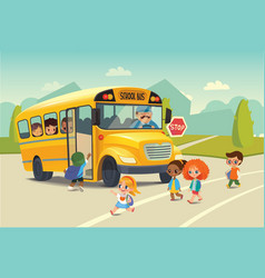 School bus traffic stop law flayer Back To vector