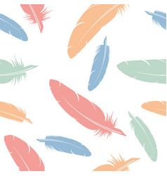 seamless pattern of flying bird feathers vector image