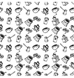 seamless pattern with hand drawn coffee design vector image