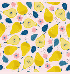 seamless pattern with pears flowers and leaves vector image