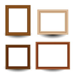 set of 4 wooden picture photo frames vector image