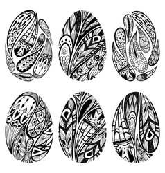 Set of black-and-white easter eggs vector