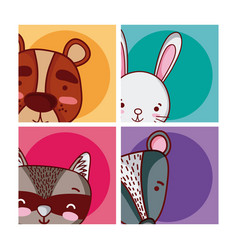 set of cute animals cartoon vector image