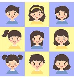 Set of Kids Face Avatar Blue Yellow vector