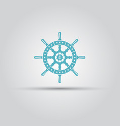 Ship steering wheel isolated icon vector