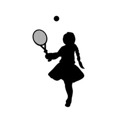 silhouette girl sport play tennis vector image