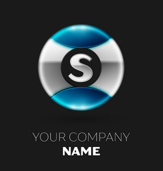 silver letter s logo symbol in silver-blue circle vector image