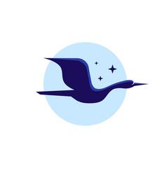 simple swan fly logo design vector image
