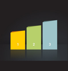 simplier three-column chart in pastel colors on a vector image