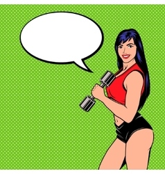 Smiling comic girl with dumbbell vector image