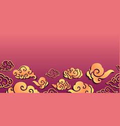 Sweet oriental cloudy seamless background vector