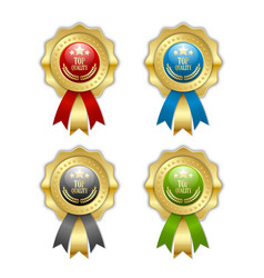top quality rosettes placed on white background vector image