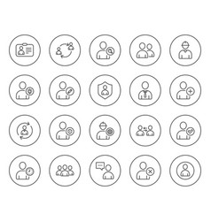 Users line icons profile group and support vector