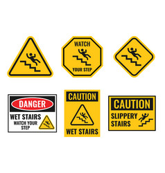 warning falling off stairs sign set slippery vector image