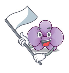With flag orchid flower mascot cartoon vector