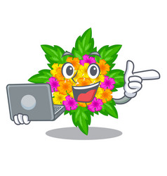With laptop lantana flowers in the mascot pots vector