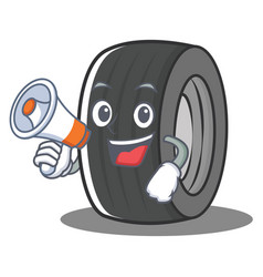 With megaphone tire character cartoon style vector